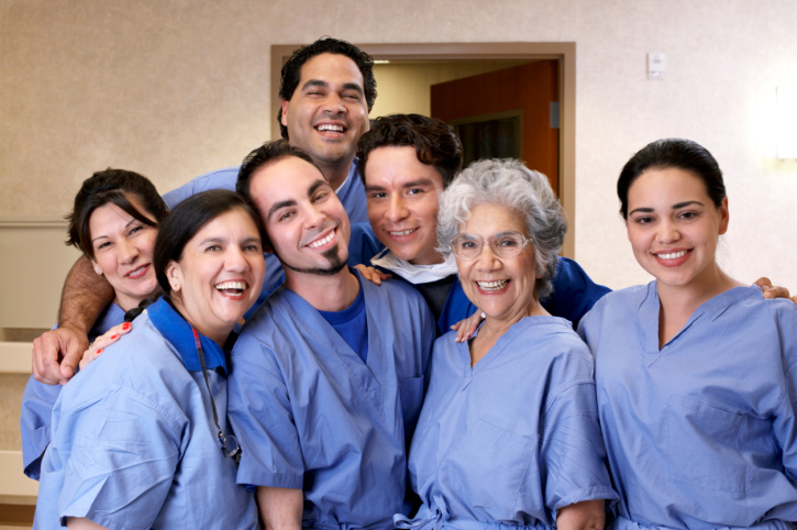 Team of healthcare workers in scrubs